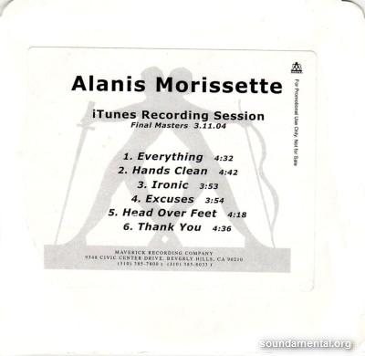 Alanis Morissette - iTunes recording session / Copyright Alanis Morissette